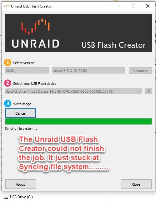 Unraid usb creator stuck at Syncing file system.jpg